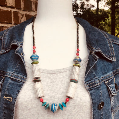 Kirabo 3 Chunky Handmade Rustic Beaded Single Strand Boho Necklace (Recycled Medical Text Books)