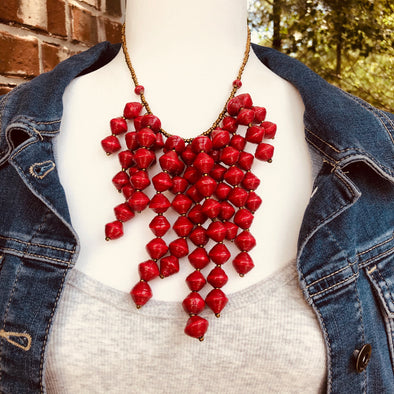 Kinyuma Signature Handmade Beaded Bib Style Necklace (available in 5 colors)
