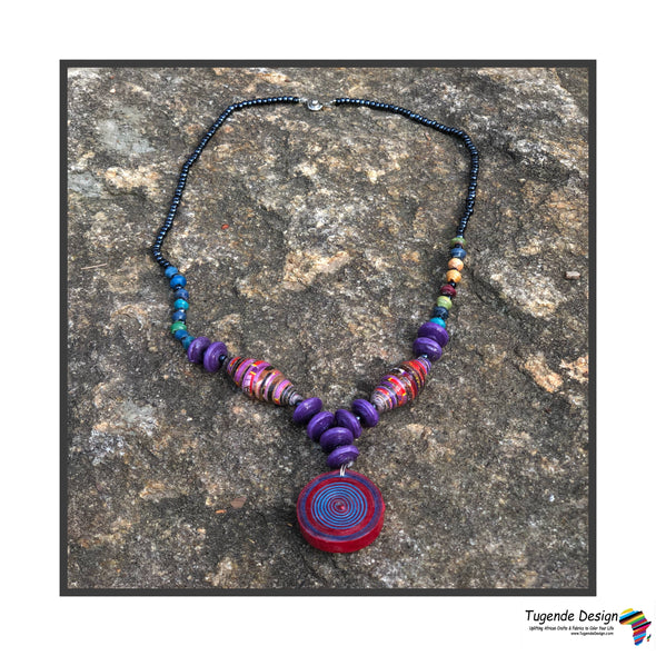 Nzuri Handmade Beaded Colorful Bohochic Necklace with Pendant