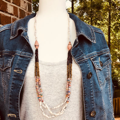 Birungi Boho Chic Handmade Beaded Long Necklace (Cream or Rose)