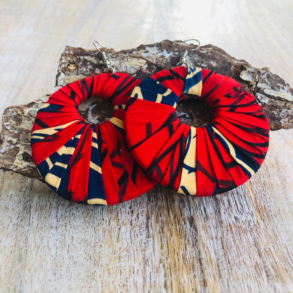 Large Round Ankara Earrings (Multicolor - Red/Navy Blue/Cream)
