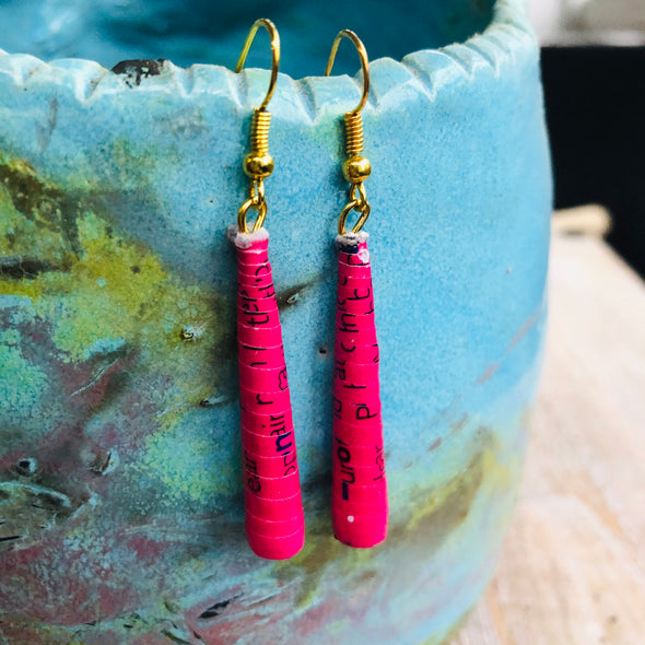 Dangling Handmade Beaded Earrings (1 Long Cone Bead in Hot Pink)