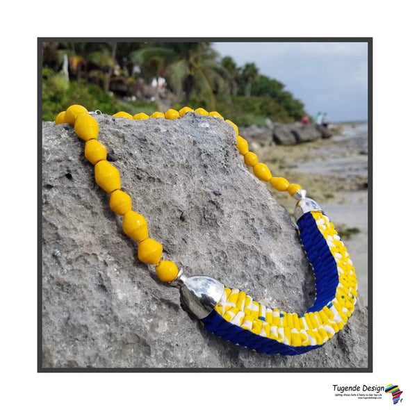 Mara Handmade Braided Necklace in Beads and Ankara Fabric (Available in 8 Colors)