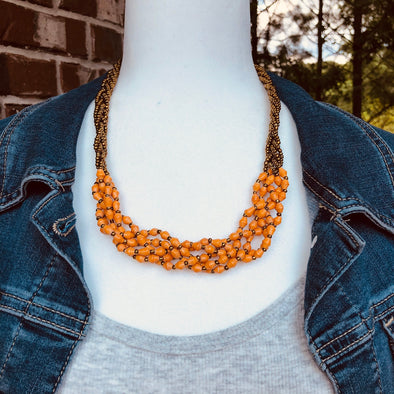Abambejja Elegant Handmade Intricately Beaded Signature Necklace (Orange with Gold Seed Beads)
