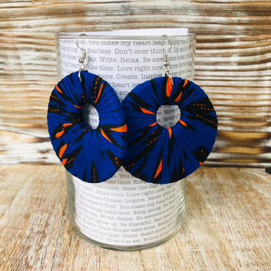 Large Round Ankara Earrings (Multicolor - Electric Blue/Orange)