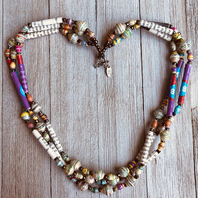 Afiya 2 Handmade Beaded Multi Strand Necklace (Beads with Words & Pastel Accent Beads)