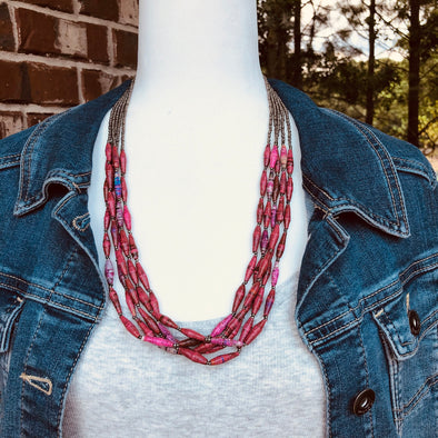 Mwala Handmade Gorgeous Beaded Multi Strand Necklace (Available in Red or Blue)