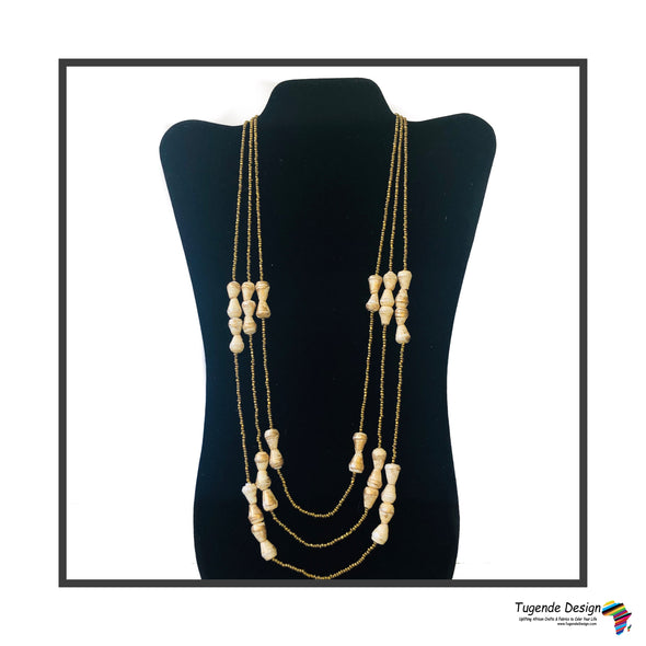 Namirembe Handmade Beaded Multi Strand Necklace with Bling (Gold with Cream or White)