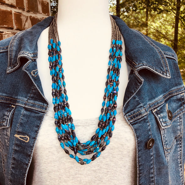 Bulule Stunning Handmade Beaded Multi Strand Necklace in Lots of Blue Colors