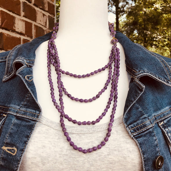 Doreen Darling Layered Handmade Beaded Necklace in Pretty Purple