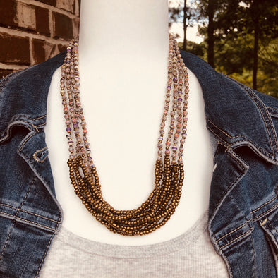 Unique Signature Handmade Beaded Multi Strand Necklace (Multi Color)