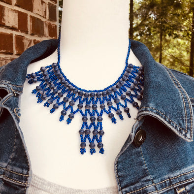 Musanyufu 2 Handmade Intricate Beaded Bib Necklace (Royal Blue)