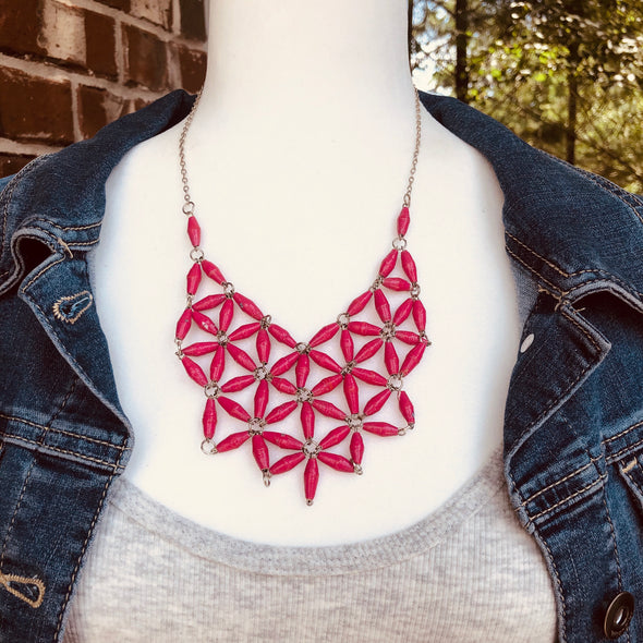 Grace Handmade Intricate Beaded Bib Design and Earrings Set (Hot Pink)