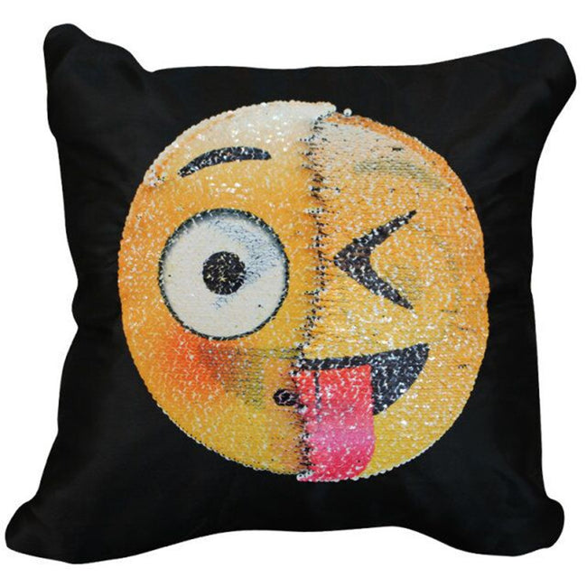 "Changing Emoji Pillows Mermaid Sequin Pillow Case Plus Pillow),SNUG STAR Reversible Emoji Cushion Cover Changeable Face Pillowcases DIY Decorative Pillowcase for Sofa Home Decor 16 X 16""(Lewd and kiss)"