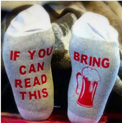 Wine Socks, Fun Gift - If You Can Read This, Please Bring Me Some Wine - Funny Gift Common Size Pure Cotton Socks For Men & Women