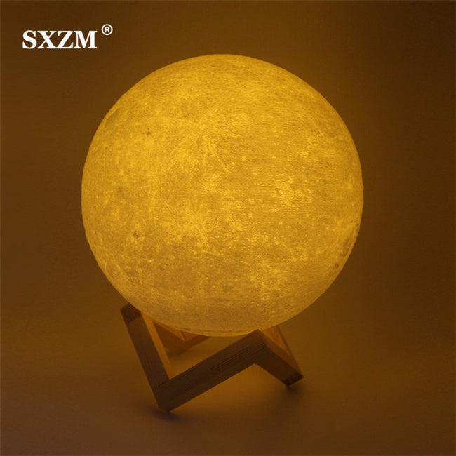 Moon Lamp USB Charging Night Light3D Printing Moon Lamp, 3D Printing Moon Night Light Lamp USB Charging Touch Sensor Control Color Changing Dimmable Baby Night Light LED Cordless Full Moon Lamp Ambient Light for Bedroom With Base