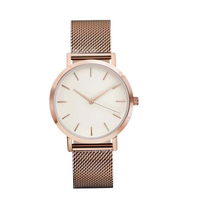 Fashionable Crystal  Rose Gold Silver Black Stainless Steel Watch