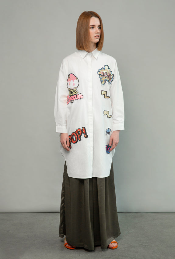 Applique Shirt Dress