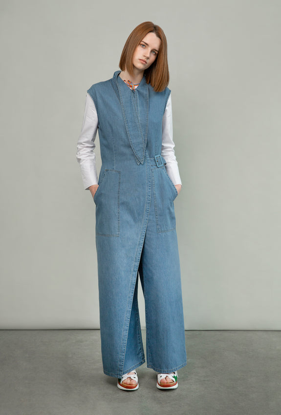 Tailored Denim Wrap Jumpsuit