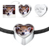 Heart Charm Leather Bracelet With Your Pet's Picture