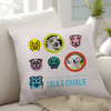 Picture of throw pillow with 2 dog's names and 2 dog's images.
