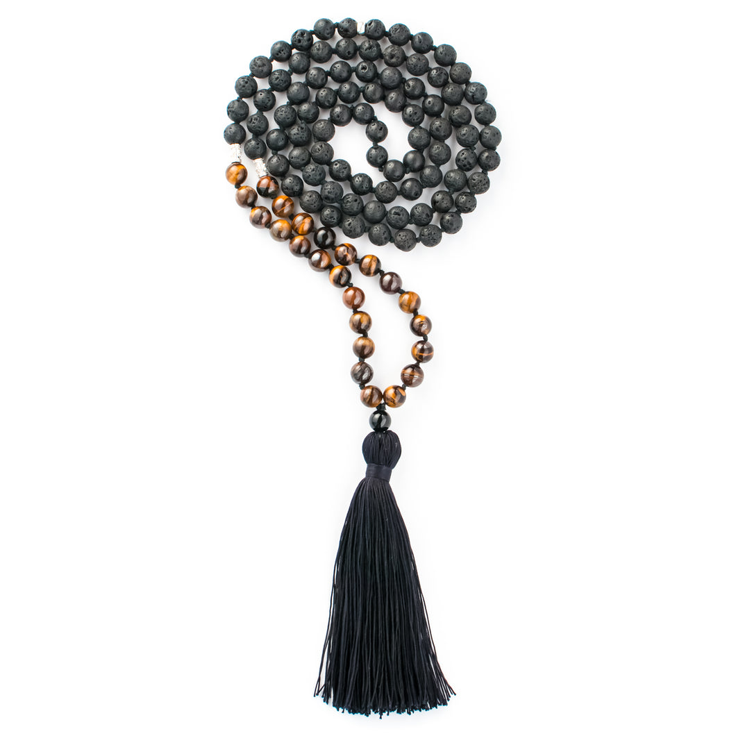 Tiger's Eye and Black Lava gemstone mala beads | KAIMALA jewels