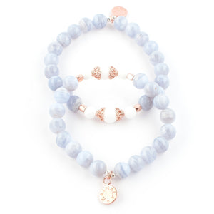 lue Lace Agate and White Agate gemstone bracelet | KAIMALA jewels