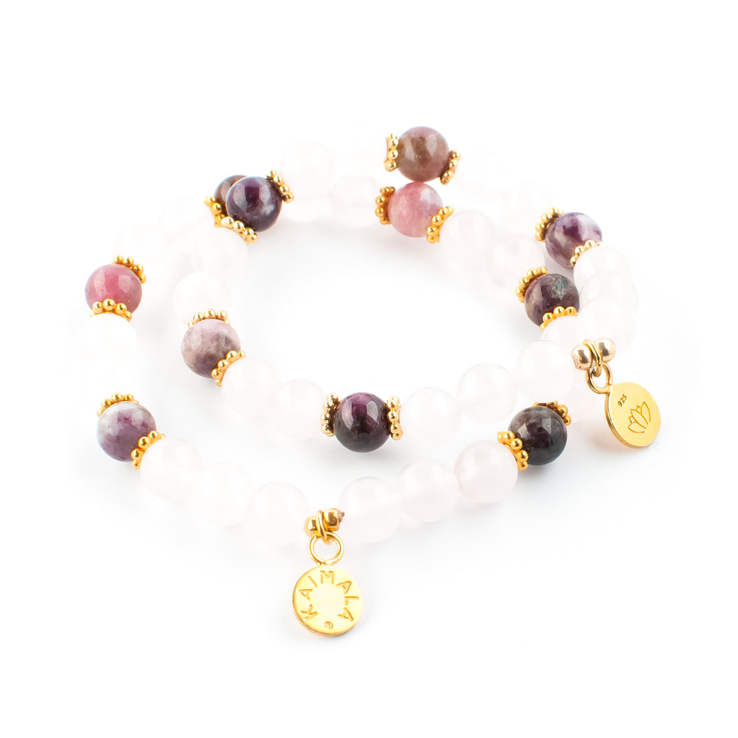 Rose Quartz and Tourmaline gemstone bracelet | KAIMALA jewels