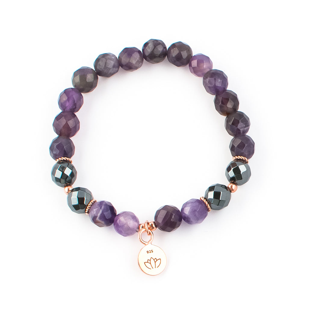 Amethyst and Hematite gemstone bracelet rose gold | KAIMALA jewels
