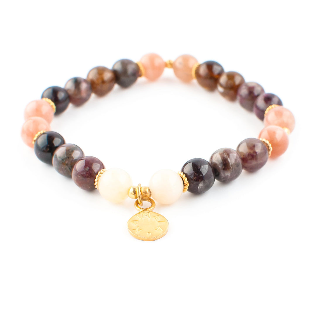 Moonstone, Peach Moonstone and Tourmaline gemstone bracelet | KAIMALA jewels