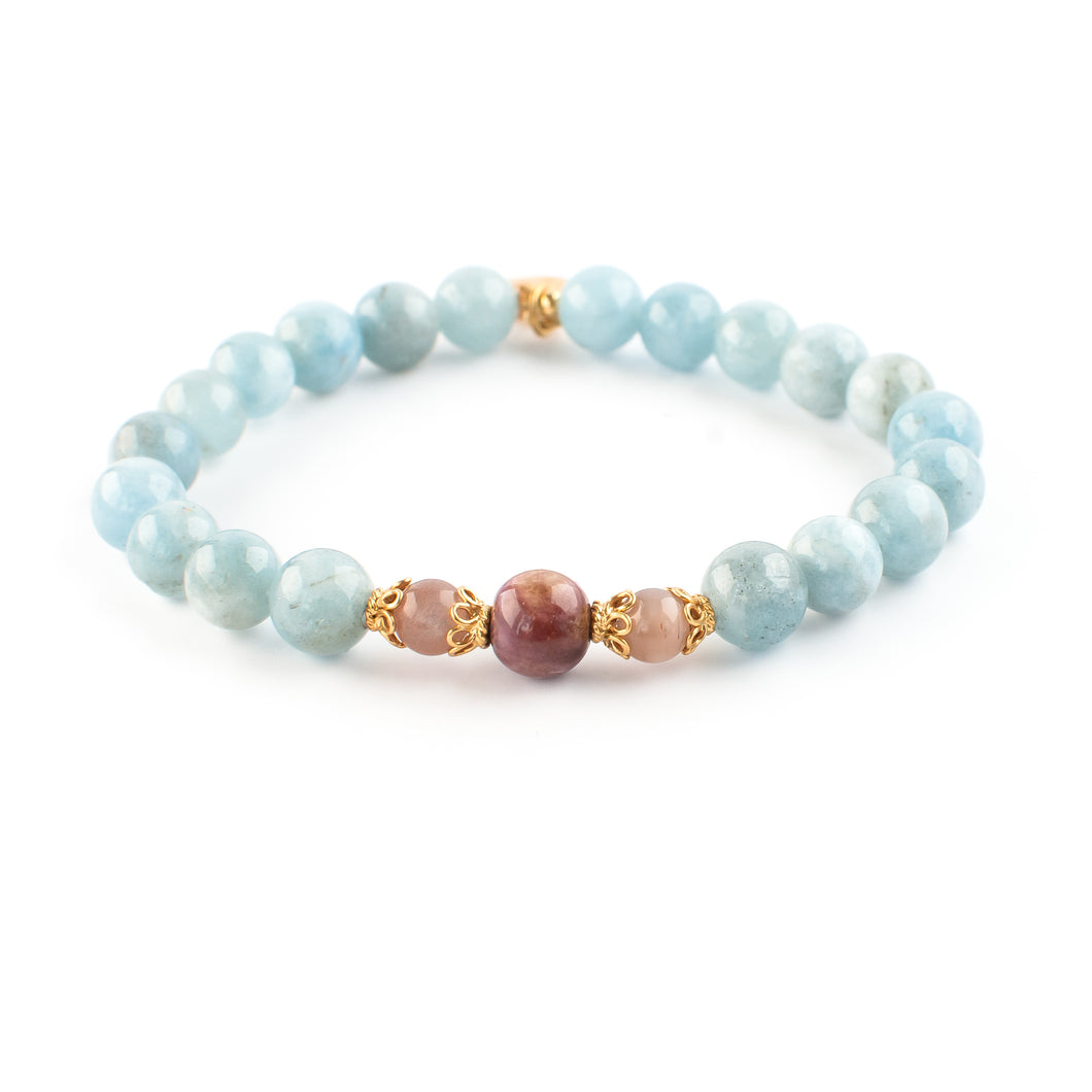 Aquamarine, Tourmaline and Peach Moonstone gemstone bracelet | KAIMALA jewels