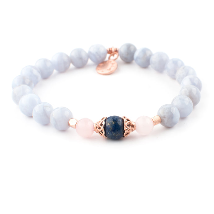 Blue Lace Agate, Lapis lazuli and Rose Quartz gemstone bracelet | KAIMALA jewels
