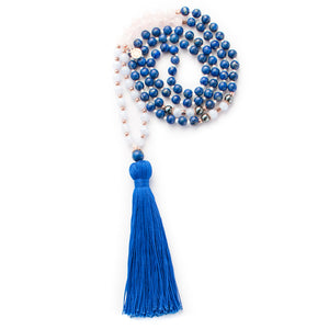 Lapis lazuli, Blue Lace Agate, Rose Quartz and Hematite gemstone mala beads | KAIMALA jewels