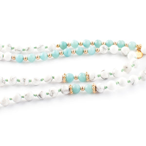 Amazonite, Garnet, Rock Crystal Quartz and Howlite gemstone mala beads | KAIMALA jewels