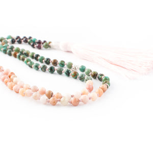 Pink Opal, Rhodolithe Garnet, Turquoise and Rose Quartz gemstone mala beads | KAIMALA jewels