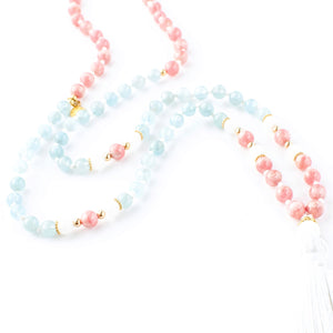 Aquamarine, Rhodochrosite and White Jade gemstone mala beads | KAIMALA jewels