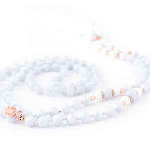 Blue Lace Agate, White Agate and Shell gemstone mala beads | KAIMALA jewels