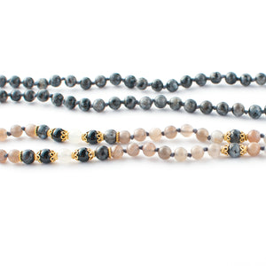 Labradorite/Larvikite, Peach Moonstone and Black Onyx gemstone mala beads | KAIMALA jewels