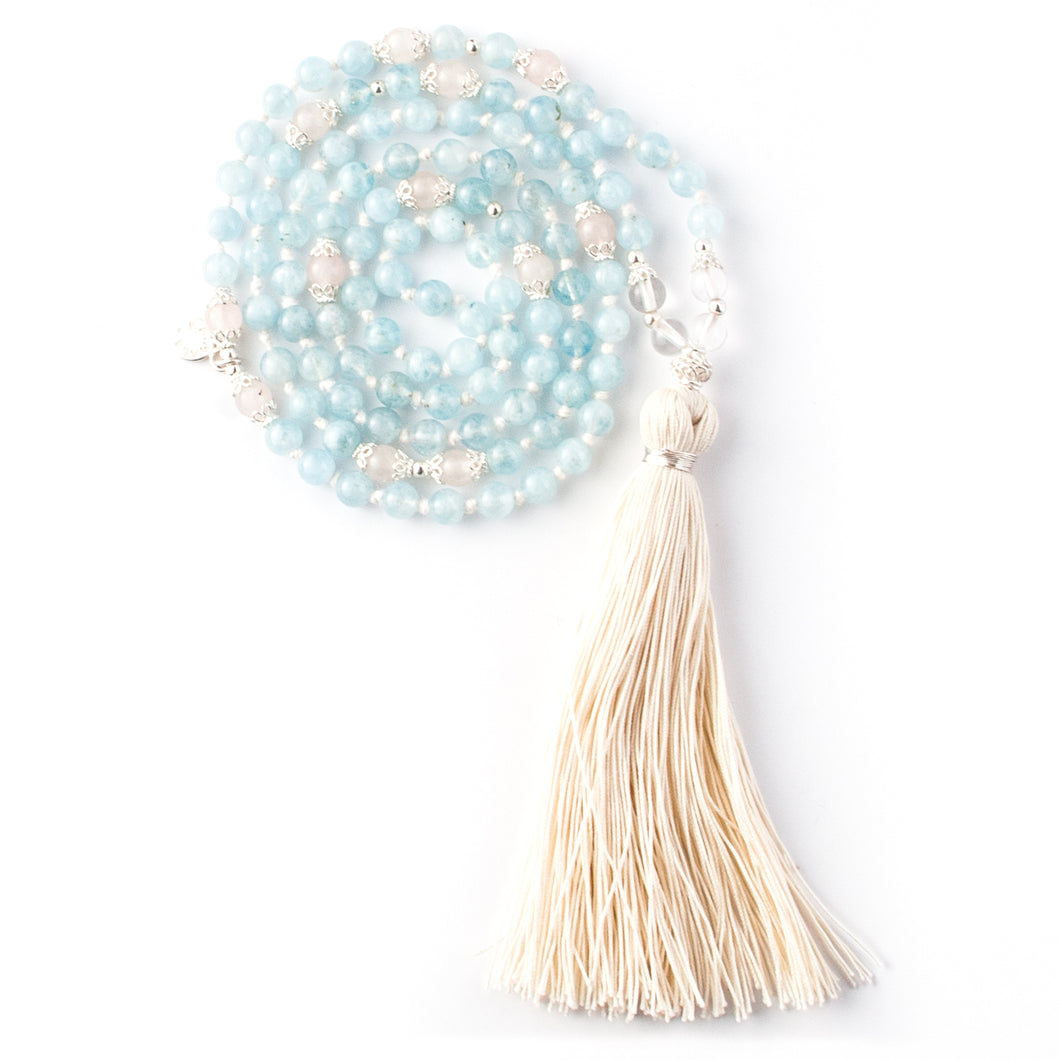 Aquamarine, Rock Crystal Quartz and Rose Quartz gemstone mala beads | KAIMALA jewels