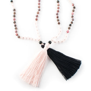 Rhodochosite, Rose Quartz and Black Onyx gemstone mala beads | KAIMALA jewels