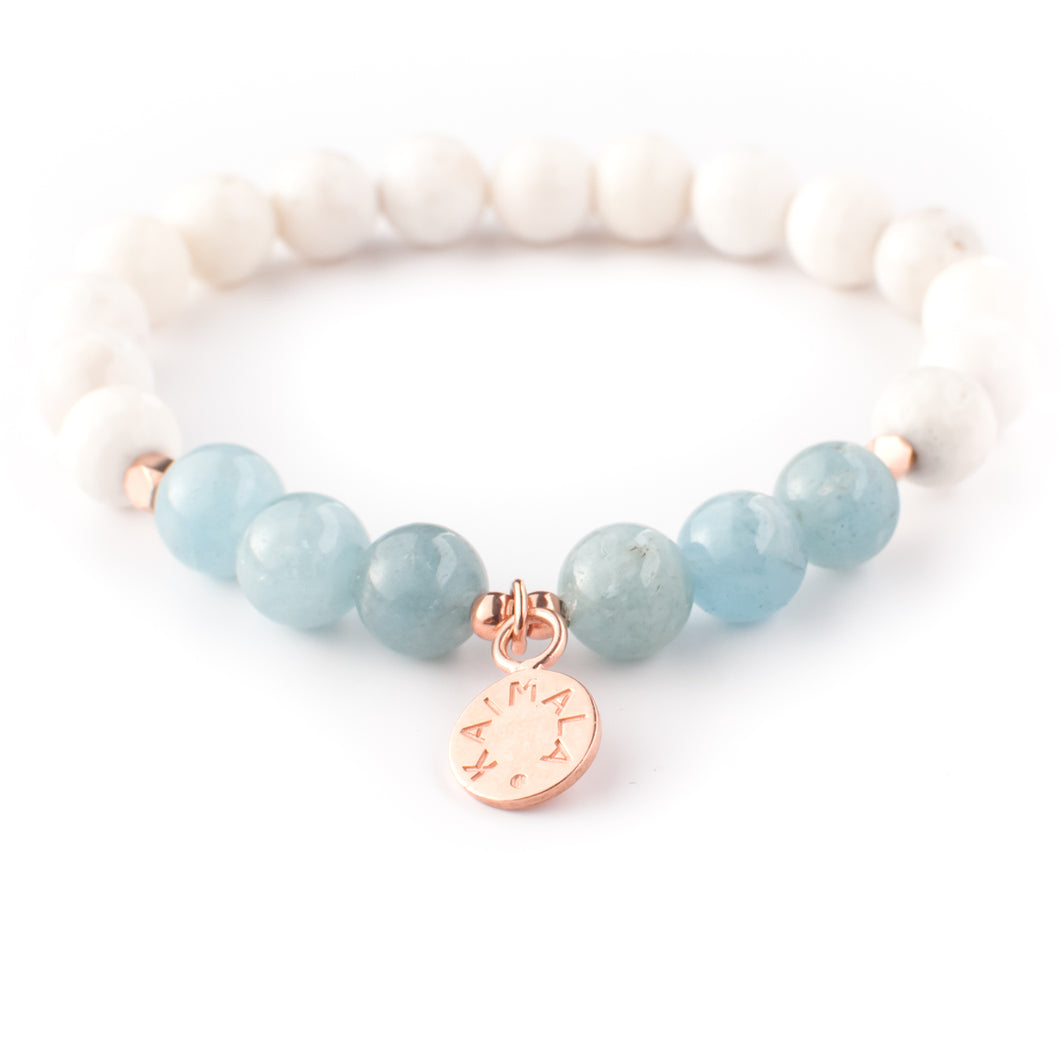 Aquamarine and White Agate gemstone bracelet | KAIMALA jewels