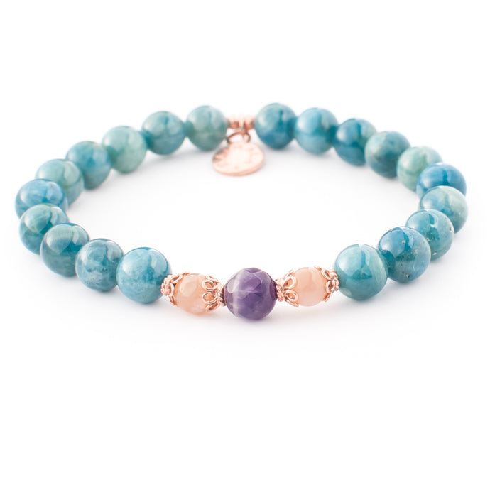 Apatite, Tourmaline and Peach Moonstone gemstone bracelet | KAIMALA jewels