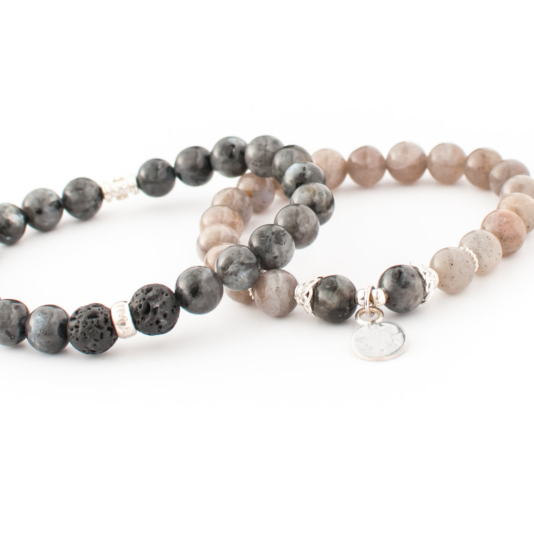Labradorite, Black Labradorite and Lava gemstone bracelet | KAIMALA jewels