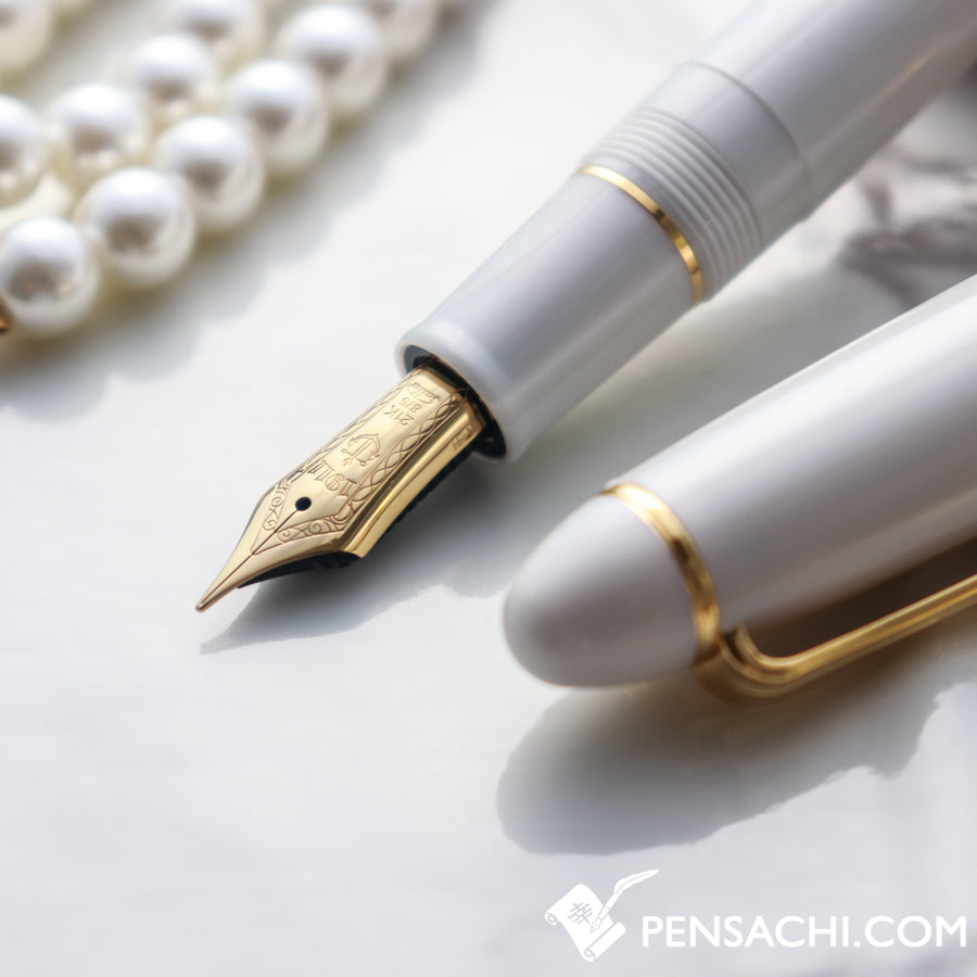 SAILOR 1911 Large (Full size)  Fountain Pen - White Gold - PenSachi Japanese Limited Fountain Pen