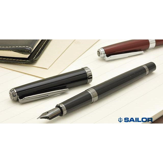 Sailor Regulus Black Rhodium Stainless Steel Nib Fountain Pen - Night Black Fountain Pen- PenSachi Japanese Limited Fountain Pen