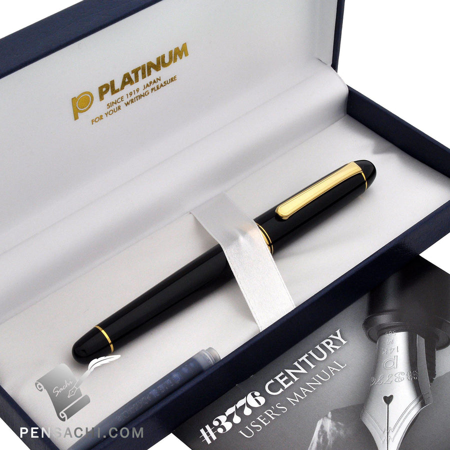 PLATINUM #3776 Century Slip and Seal Mechanism 14K Gold Nib Fountain Pen - Black Fountain Pen- PenSachi Japanese Limited Fountain Pen
