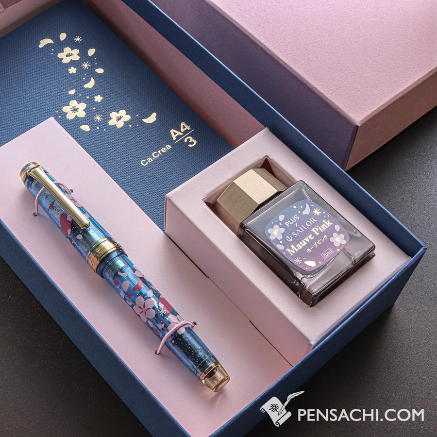 SAILOR Limited Edition Pro Gear Slim Demonstrator Sakura Set - Blue Gold - PenSachi Japanese Limited Fountain Pen