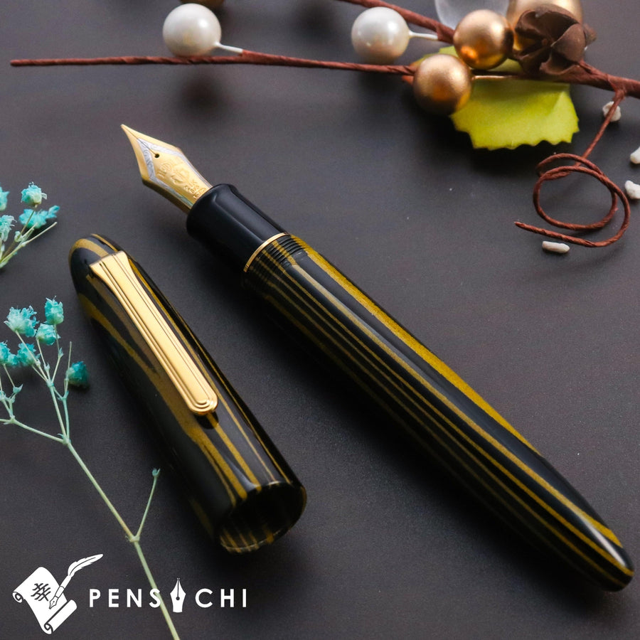 SAILOR Limited Edition King of Pens Ebonite 21K Gold Nib Bi-color Fountain Pen - Black Yellow Fountain Pen- PenSachi Japanese Limited Fountain Pen