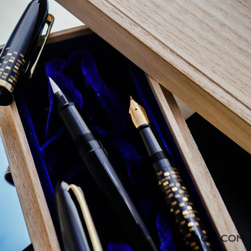 LIMITED EDITION SET SAILOR 1911 Profit Maki-e Fude Mannen Fountain Pen - Illuminate & Profit Brush Pen - Black - PenSachi Japanese Limited Fountain Pen