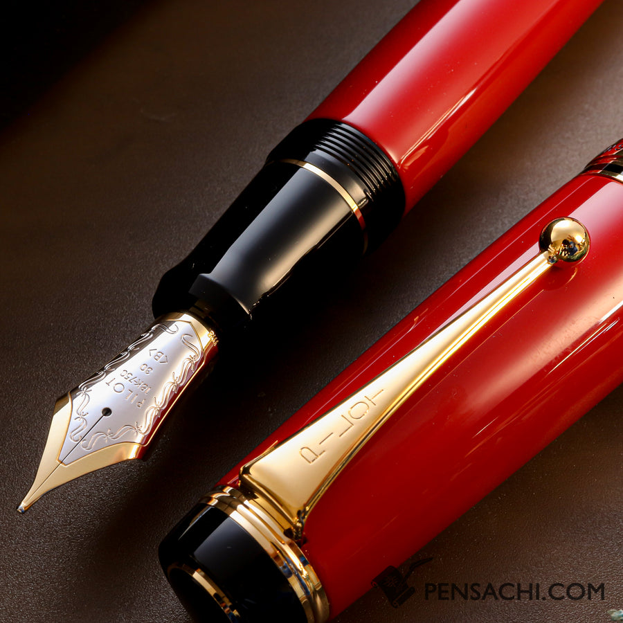 PILOT Custom Urushi Fountain Pen - Shu Vermillion - PenSachi Japanese Limited Fountain Pen